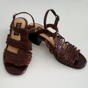 1990's Woven Leather Open-Toe Sling-Back Sandals